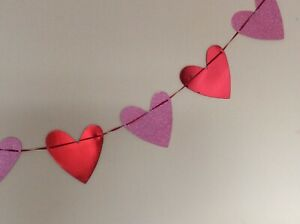 Love Heart Bunting Garland Mothers Day Bunting 3 Metres Pink & Red Hearts Card