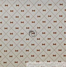 BonEful Fabric FQ Cotton Quilt Cream Brown Dog Bone Little Pattern Print Calico