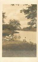 Postcard RPPC Young Men At The Lake