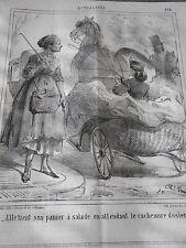 Caricature 1864 Litho Elle tient son panier à salade cachemier d'osier