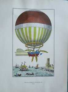 10 RARE OLD Antique 1800s VINTAGE French Early Hot Air Balloon Prints ForFraming