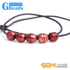 """Fashion Jewelry 9-10mm 5 Pearls Strand Black Rope Necklace Adjustable Size 17.5"""""""