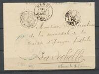 1897 Env. Corps d'armée ligne N PAQ FR Cachet S1952 + Hanoï + Tonkin TB P2883