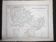 ORIGINALE antico colorato a mano Mappa di Denbighshire (Galles) c1840s-J Archer