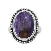 925 Fine Silver Ctw Charoite Gemstone Round Wedding Ring