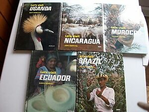Let's Visit Brazil, Ecuador, Morocco, Nicaragua, Uganda 5 HB Books **GC**