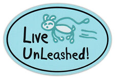 Oval Car Magnet - Live Unleashed (Dogs) - Life Is Good - Bumper Sticker Decal