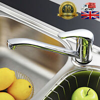 Chrome Kitchen Sink Mixer Tap Mono Bloc Single Lever Swivel Long Neck Spout