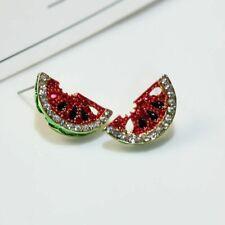 Cute Asymmetry Watermelon Ruby CZ Stud Earrings 925 Silver Womens Party Jewelry