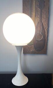 MId Century Saarinen Knoll Style Tulip Globe Table Lamp White White Hourglass