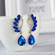 Drop Rhinestone Pendant Earrings Blue Angel Wing Crystal Water