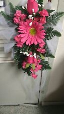 6 WEDDING PEW BOWS  HOT PINK   DAISY  ROSES & BABYS  BREAST CASCADING RUSH AVAIL