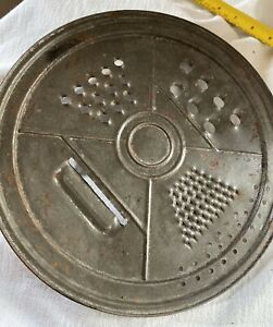 Vintage Flat Cheese Grater 4 Slicers And Strainer Sits on Pot or Bowl