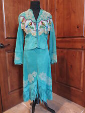Vintage Gossamer Wings Suede Beaded Jacket & Skirt Santa Fe New Mexico
