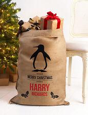 PERSONALISED CHRISTMAS SANTA SACK XL EXTRA LARGE HESSIAN TRADITIONAL STOCKING v5