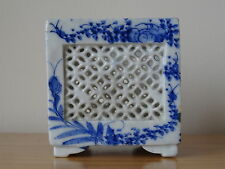 c.19th - Antique Chinese China Blue and White Square Porcelain Brush pot