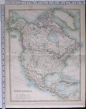 1915 LARGE MAP NORTH AMERICA DOMINION OF CANADA UNITED STATES MEXICO JAMAICA