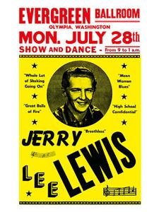 Fifties - Jerry Lee Lewis - Evergreen Ballroom Concert Poster reprint (1958)