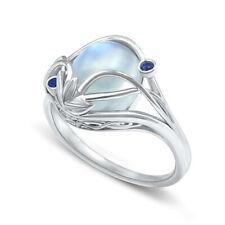 Jewelry Moonstone Ring Size 8 Elegant Women's Wedding Rings 925 Silver