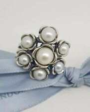 Authentic Pandora Silver Pearl Cluster Ring 'Wishful Thinking' 190887P Sz 52 NEW