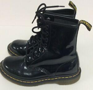 Dr Martens Children Kids Black Patent Original Boots Size UK 3