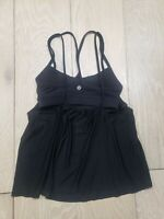 Lululemon Women's Tank Top Size 2 Black Built in Bra Gym Athletic Workout No Pad