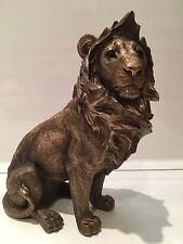 Bronzed Sitting Lion Ornament Figurine Figure Gift Present