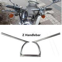"1"" 25mm Chrome Z Handlebar Hand Drag Bars Motorcycle For Harley Yamaha Suzuki"