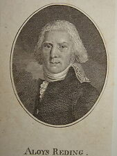 Gravure Portrait GENERAL ALOIS von REDING SUISSE NAPOLEON EMPIRE 1800 REVOLUTION