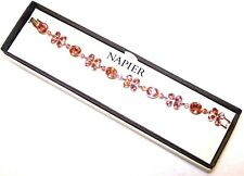 New in Box NAPIER Gold Link Bracelet with Rhinestones in Soft Shades of Pink