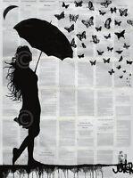 ART PRINT - Butterfly Rain by Loui Jover Umbrella Butterflies Poster 11x14