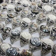 Jewelry Silver Plated Wholesale Lot 30pcs Gemstone Shells Fashion Rings Bulk