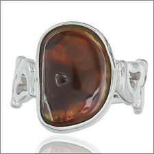 Mexican Fire Opal Cabochon In Sterling Silver Ring Size 6.5 #91049