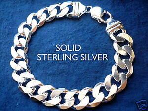 "13MM 925 STERLING SILVER MEN'S CUBAN LINK BRACELET choice of length 8""9"""