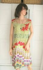 New unusual Spanish cotton dress Green, red, sequin applique Embroidered 10 12
