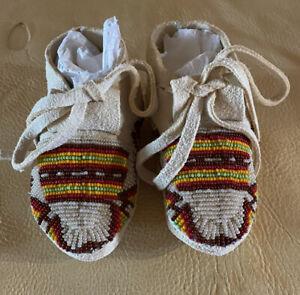 1 Beautiful Pair Of New Native American Lakota Sioux Beaded Baby Moccasins