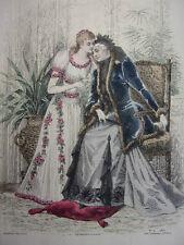 """24/ GRAVURE DE MODE """" Moniteur de la Mode Paris 1891 """".   Grand format 36x26"""