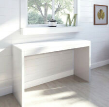 White Wooden Dressing Table High Gloss Finish Surface Desk Long Drawer Storage
