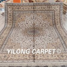 YILONG 9'x12' Large Hand knotted Silk Carpets Oversize Handmade Area Rugs 013M