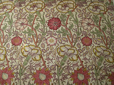 "WILLIAM MORRIS CURTAIN FABRIC DESIGN ""Pink and Rose"" 5.1 METRES MANILLA WINE"