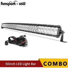 Curved 50inch 700W LED Light Bar Flood Spot Roof Driving Truck RZR SUV 4WD 52''