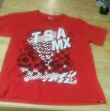 TSA mens CHECKERED MX  T-SHIRT Youth L Red Train, Sacrifice, Achieve pre-owned