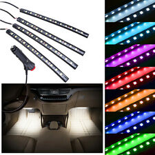 4PCS 12LED White Cigarette Lighter Car Interior Floor Atmosphere Light Strip