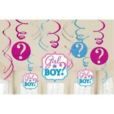 Amscan 12 Girl or Boy Hanging Swirl Decorations 61cm