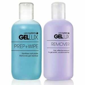 Gellux Uv Led Gel Nail Polish Prep and Wipe or Gel Remover Acetone 250ml/500ml