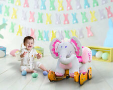 Girls Pink Plush Elephant Wooden Rocking Horse Toys Baby Ride On With Seat Chair
