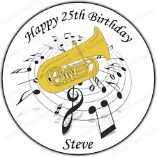 Personalised Tuba Brass Band Music Notes Edible Icing Birthday Party Cake Topper