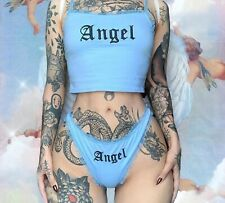 Gothic ANGEL e girl kawaii underwear set with frills co ord lingerie
