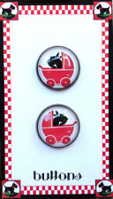 SCOTTIES  IN STROLLERS ~ PAIR ~Studio GLASS DOME BUTTONS Retro 20mm SCOTTY DOG