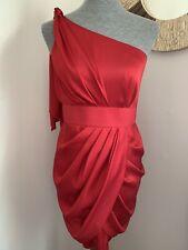Aidan Mattox Red One Shoulder Satin Shiny Dress New Short Size 6